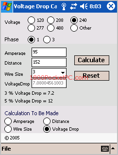 Sos voltage drop calculator pocket and pc voltage drop greentooth Image collections