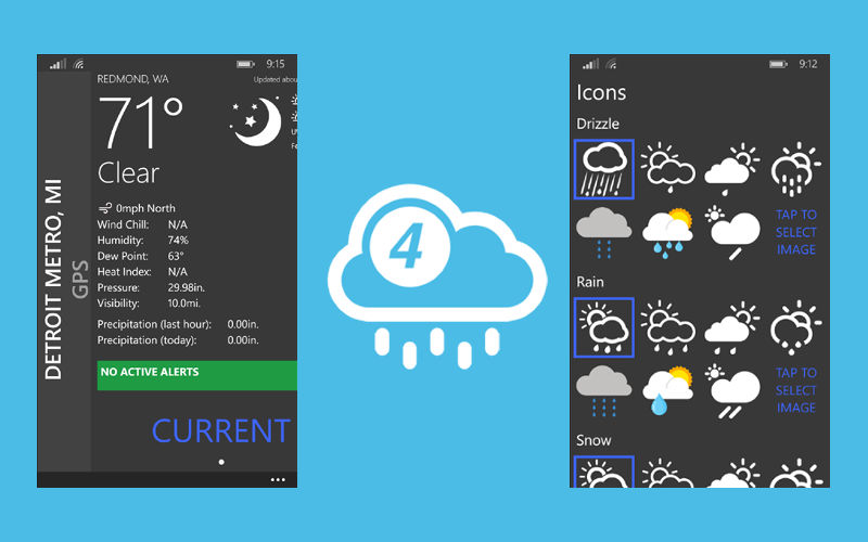 4castr, Weather apps, Windows Phone weather