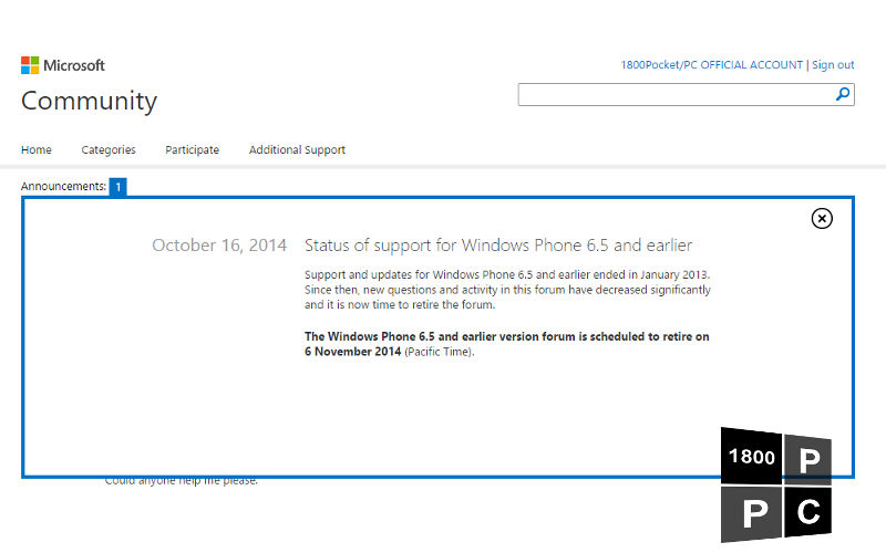 "Microsoft Giving Windows ""Phone"" 6.5 Support Forums the Axe on November 6"