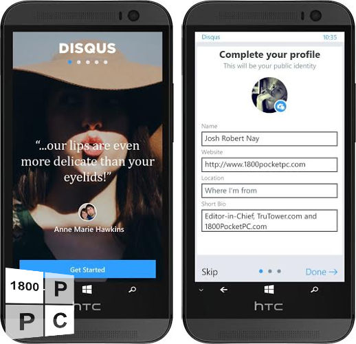 Disqus, Disqus app, Disqus for Windows mobile phone