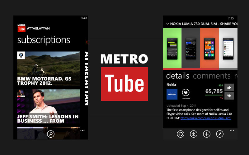 MetroTube, YouTube for Windows Phone, YouTube player and downloader