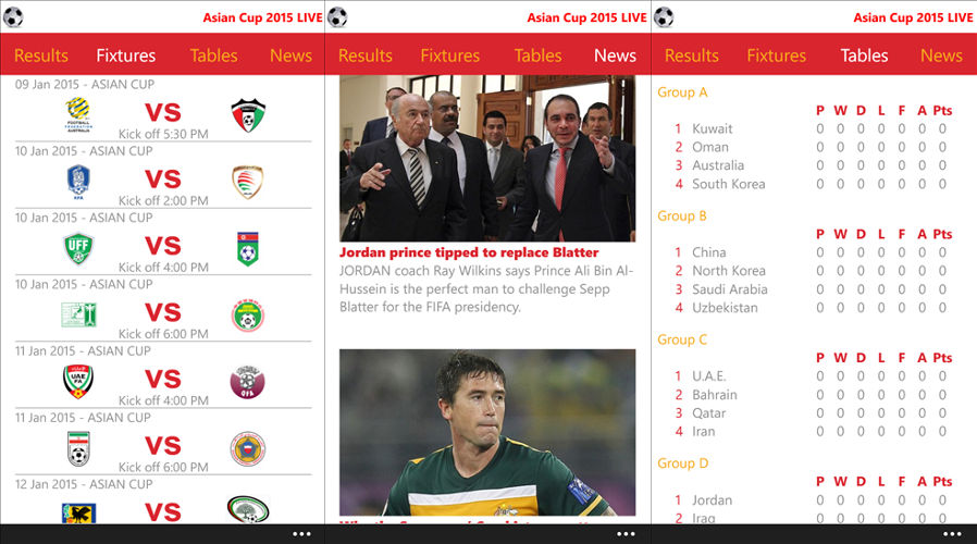 Asian Cup 2015 Live, Asian Cup, Soccer and Football Events