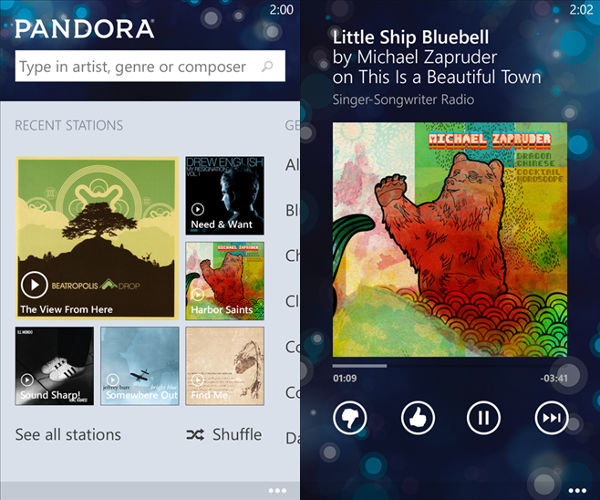 Pandora app, Pandora internet streaming, music streaming app