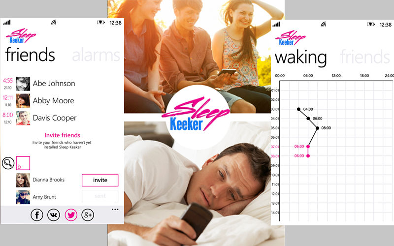 See When Your Friends Wake Up With Sleep Keeker Alarm Clock for Windows Phone
