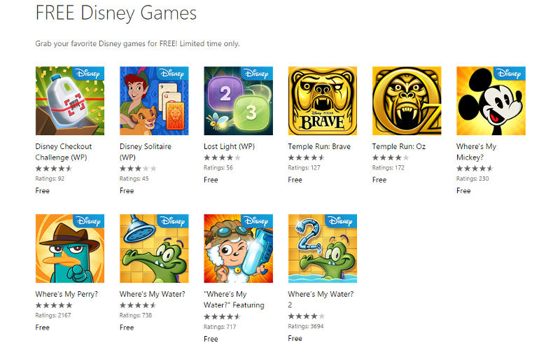 "Microsoft, Disney Partner to Offer Free Select Windows Phone Games For a ""Limited Time"""