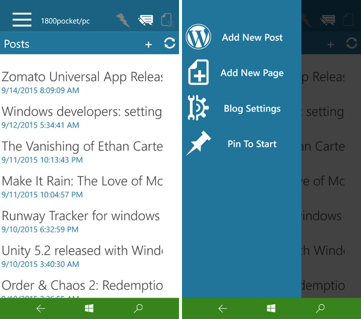 Ultimate WordPress mobile, WordPress app for Windows 10, Publish on mobile blogs