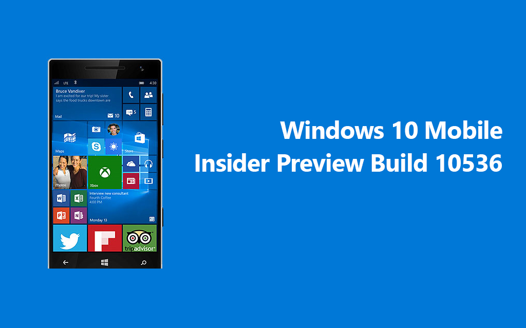 Windows 10 Mobile Insider Preview Build 10536 now available