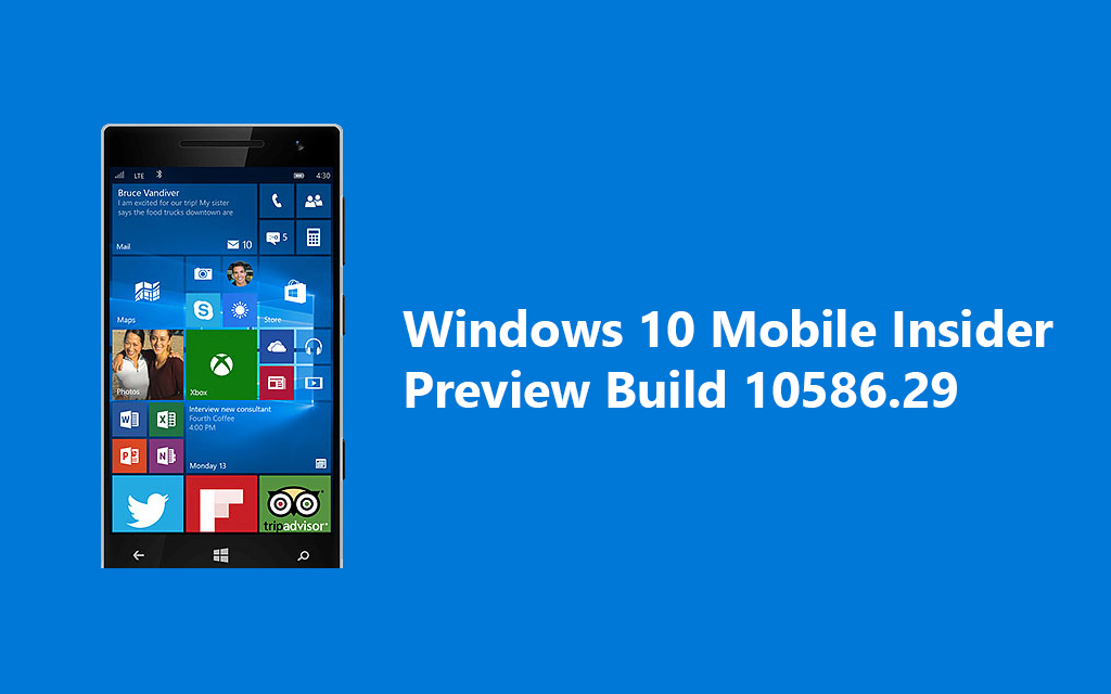 Windows 10 Mobile Insider Preview Build 10586.29 released