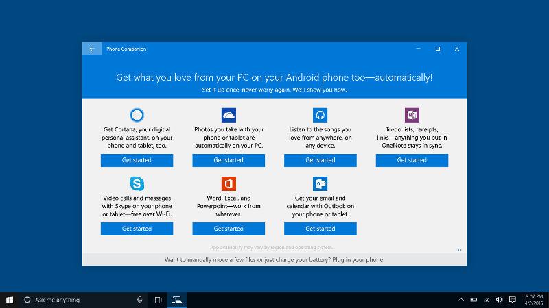 Windows 10 apps, Win10 sync, Microsoft